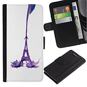 Ihec-Tech / Flip PU Cuero Cover Case para Sony Xperia Z1 Compact D5503 - Eiffel Tower Milk Abstract