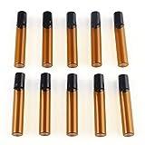 F-ber 10pcs/box 10ml Mini Amber Perfume Essential Oil Roller Bottles Glass Roll-on Bottles w/Stainless Steel Roller Balls Reusable