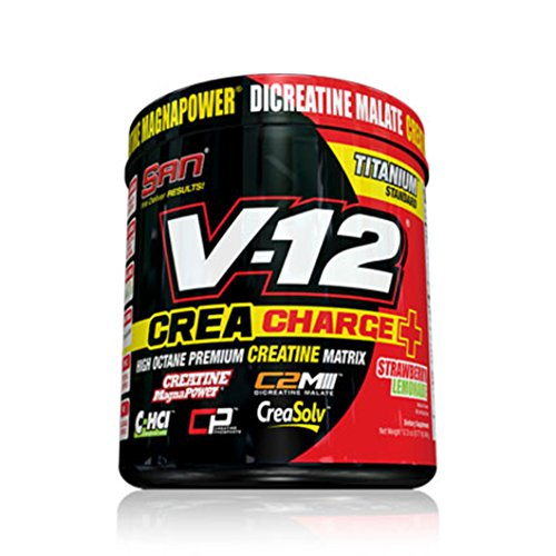 SAN Nutrition V-12 with Creacharge+ Creatine Supplement with 5 Forms of Creatine, Strawberry Lemonade, 0.77 Pound