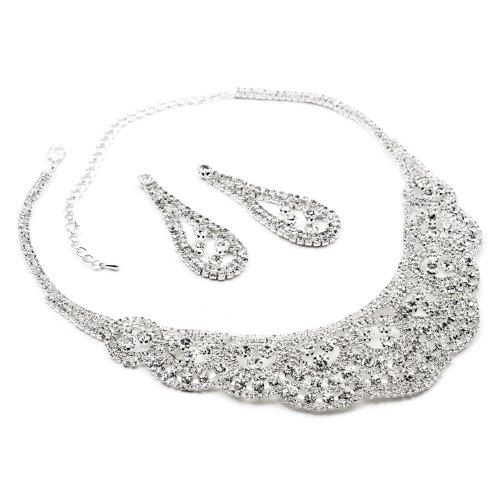 (Silver Crystal Rhinestone Teardrop Pear Shape Dangle Earrings & Tennis Net Style Necklace Jewelry Set)