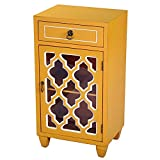Heather Ann Creations Single Drawer Distressed Decorative Accent Storage Cabinet with Multi Clover Glass Window Inserts, 30'' x 18'', Orange