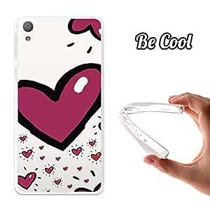 Becool® - Funda Gel Flexible para Alcatel Sony Xperia E5 Carcasa TPU fabricada con la mejor Silicona, protege y se adapta a la perfección a tu Smartphone y con nuestro exclusivo diseño San Valentín Corazon