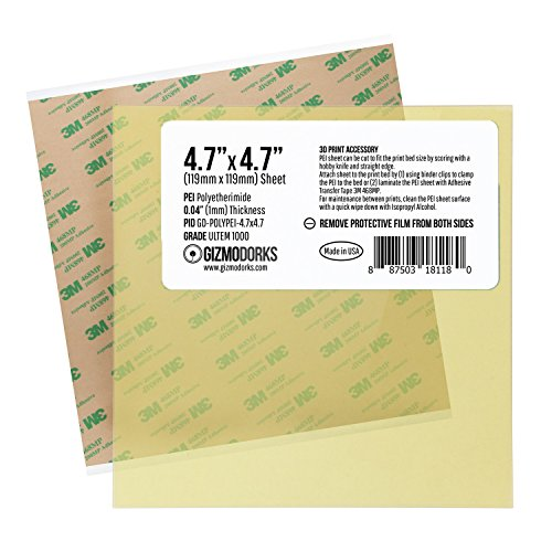 Gizmo Dorks PEI Sheet 4.7'' x 4.7'' (120mm x 120mm) 1mm Thick Build Surface with 3M 468MP Adhesive for 3D Printer, Made in The USA by Gizmo Dorks