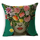 #3: cushion cover fabric Frida Kahlo Colorful Flowers Pillowcase 43x43cm/17x17'' Woven Pillow Covers Polyester&Linen Home Decor cushion cover for sofa (A2)