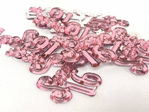 48 Pink Sweet 16 Charms Embellishments Number for Capia Favors Acrylic Confetti