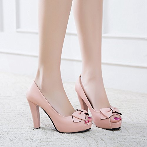 Toe KemeKiss Fashion Women Pink Peep Platform Shoes qtrtRw