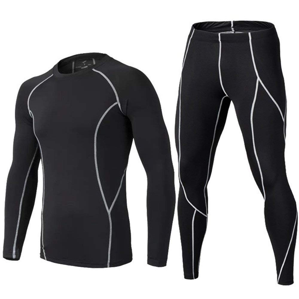 BUYKUD Kids' Boys Fleece Warm Long Sleeve Athletic Base Layer Compression Underwear Shirt & Tights Set BUYKUD INC.