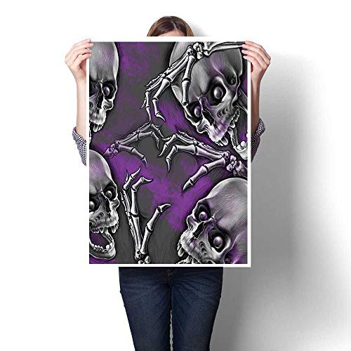 Canvas Prints Abstract Pictures,Scary Creepy Spooky Happy Smiling Skeleton with Boned Hand Art Print Purple Grey Oils,on Canvas Wall Art for Home Decorations,24