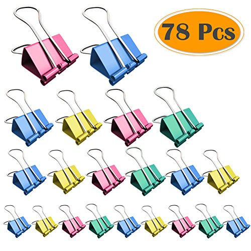 Selizo 78 Pcs Binder Clips with Assorted Sizes and Colors