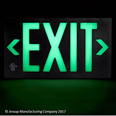 Mounts 4 Ways, Includes Bracket and Arrows Green UL Listed 100 Foot Jessup Glo Brite 7042-100-B PF100 Molded Plastic Exit Sign 8.75 x 15.5 Double-Sided
