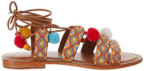 L'ATELIER TROPEZIEN Sandale Multicouleur Lacet Pompom - Sandalias de Gladiador Mujer Jaune (Yellow Multi)