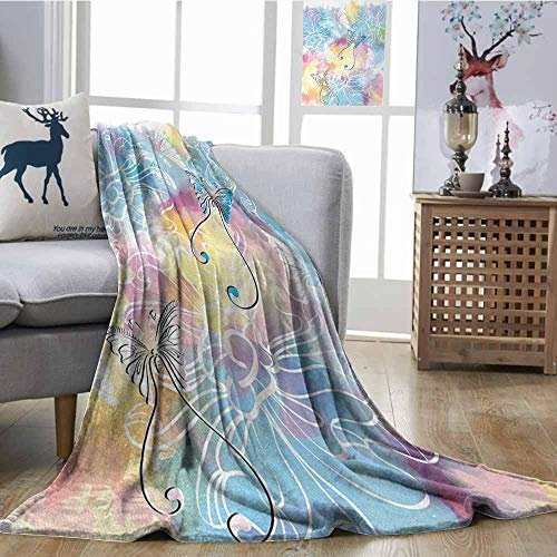 Printing Blanket Colorful Romantic Brushstroked Backdrop with Haze Blur Splash Features and Moth Antler Multicolor Easy to Carry Blanket W54 -