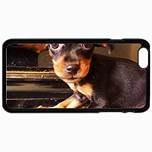Customized Cellphone Case Back Cover For iPhone 6 Plus, Protective Hardshell Case Personalized Dog Little Touch Piano Black