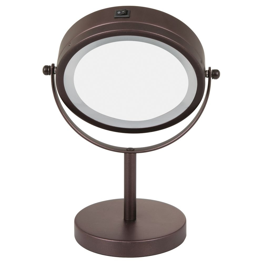 10-Inch Bronze iDesign Free-Standing Portable Double-Sided Vanity Mirror with Lighting for Bathroom