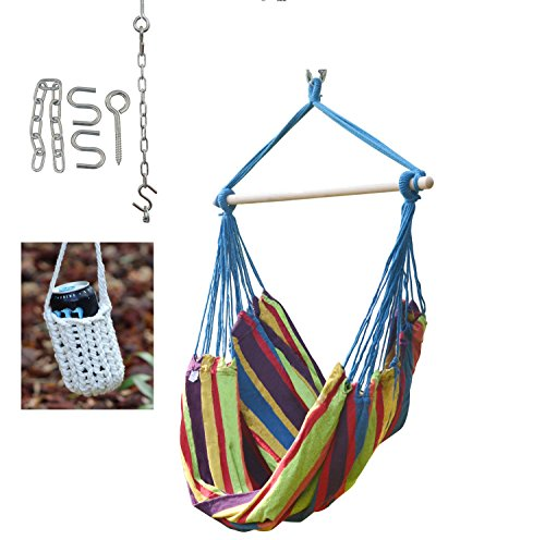 Large Brazilian Hammock Swing Chair - With Hanging Hooks Hardware and Free Handcrafted Drink Holder (Blue/Stripe)