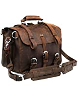 Polare Men's Full Grain Leather Briefcase Shoulder Messenger Bag Fit 17'' Laptop