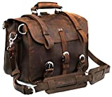 Polare Men's Top Quality Full Grain Leather Briefcase / Shoulder Bag / Messenger Bag / Satchel Fit 17'' Laptop