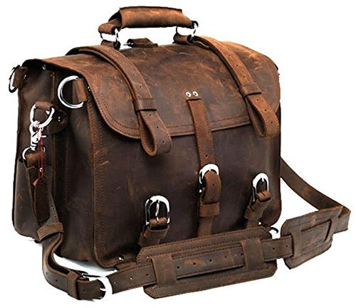 Polare Men's Top Quality Full Grain Leather Briefcase Shoulder Messenger Bag Fit 17'' Laptop