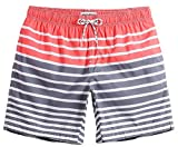 MaaMgic Mens Quick Dry Striped Swim Trunks With Mesh Lining Swimwear Bathing Suits,Qma011-red