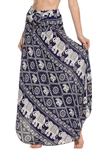 SE MIU Women's Long Bohemian Style Floral Print Boho Hippie Maxi Skirt Dress Asymmetric Hem Design Blue