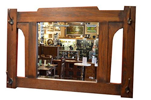 Mission Style Coat - Crafters and Weavers Prairie Style Mission Oak Bevelled Glass Mirror with Coat Hangers Hooks Op506
