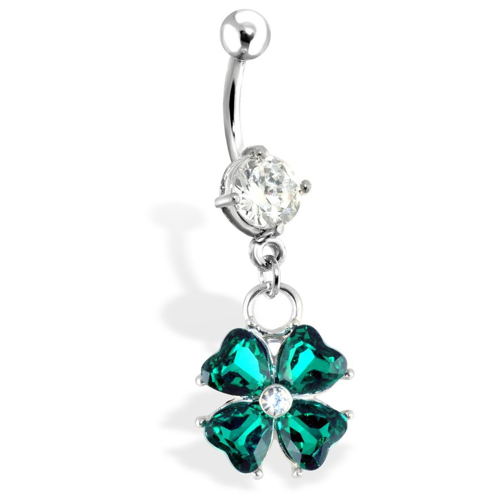 Surgical Steel Navel Ring With Four Leaf Clover Dangle