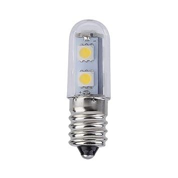 Mini E14 1W 7 LED 5050 SMD Nature/Warm White Light para la máquina de Coser Refrigerator Lamp 110V / 220V LED Bulb: Amazon.es: Coche y moto