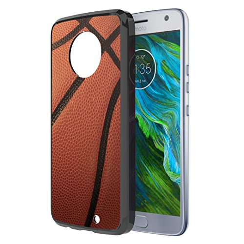 Moto X4 Case, Capsule-Case Hybrid Slim Hard Back Shield Case with Fused TPU Edge Bumper (Black) for Motorola Moto X4 (Moto X 4th Generation) - (Basketball)