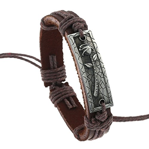 - MORE FUN Retro Metal Rose Button Brown Braided Rope Cuff Bangle Adjustable Leather Wrap Bracelet