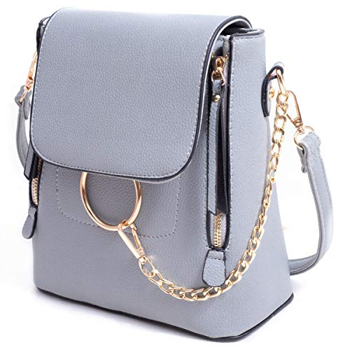 BABORRY Women Crossbody Chain Backpack Purse Small Pu Designer Leather Shoulder Bag for women Ladies Grey Handbags (Grey) ()