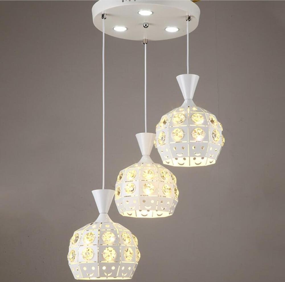 GL&G Modern luxury living room lighting iron lamp shade living room lights home meal chandeliers,LED Bulb Included, Warm White Light,3pcs,1822cm