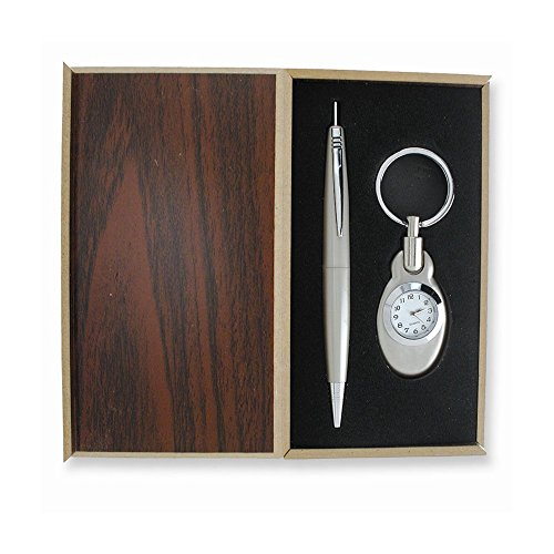Silver-tone Engravable Watch Key Ring and Pen Gift Set