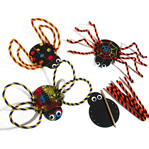 GonPi 1 Set 2pcs Kids Child Cartoon Scraping Paintings/Children DIY Halloween Spider Insect Decoration Toys/Kindergarten Handmade Craft Ch for $<!--$9.76-->