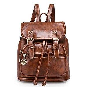 TIBES grand sac à dos en cuir PU sac à dos décontracté sac à dos des femmes cartables filles B Marron
