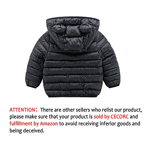 CECORC Winter Coats for Kids with Hoods (Padded) Light Puffer Jacket for Outdoor Warmth, Travel, Snow Play   Girls, Boys   Baby, Infants, Toddlers, 2T (18-24-30 Months(100), Black)