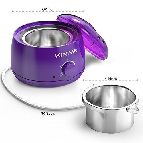 Wax Warmer, KINIVA Electric Hair Removal Waxing Warmer Kit, Professional Wax Heater Pot, Painless Hard Wax Melt Beans Kits, Melting Beads Applicators Sticks – Purple by KINIVA (Image #6)