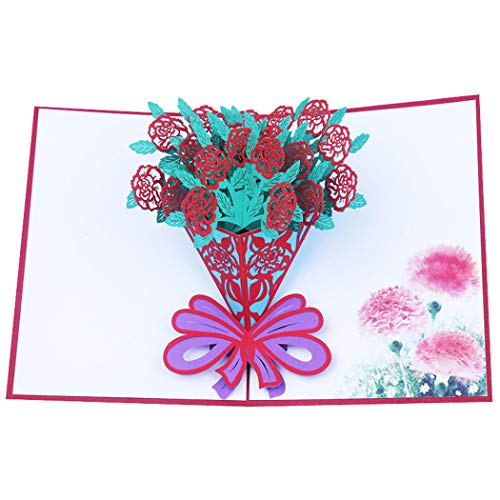 SHZJZ 3D Greeting Card Paper Carving Creative Gift Imitation Carnation Bouquet Holding Bouquet Stereo Greeting Card Suitable for Mother's Day Valentine's Day Birthday Wishes ()