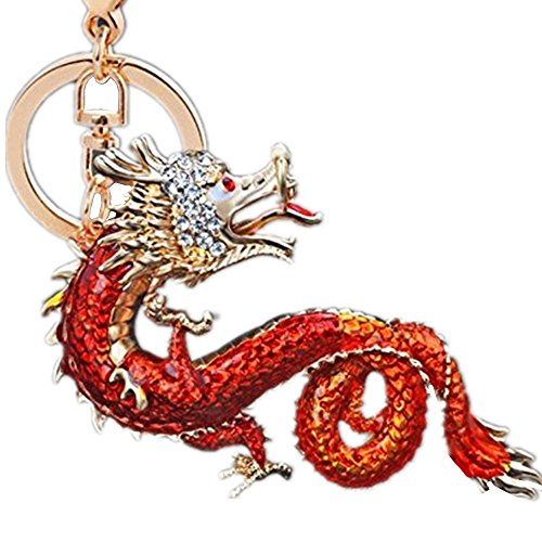 Jzone Chinese Dragon Loong Keychain Austrian Crystal Green Enamel Key Ring Car Bag Pendant Purse Charm (red)