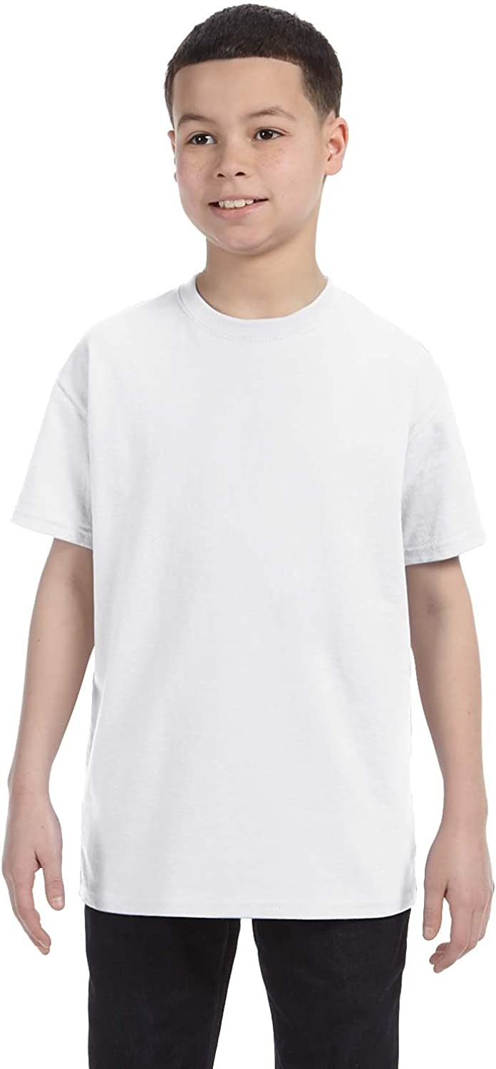 Small Jerzees Big Boys Rib Collar Tear Away Label T-Shirt White