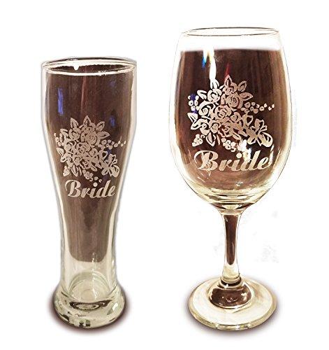 Laser Engraved LGBTQ Bride and Bride Glasses - 20 oz Wine Glass and 15 oz Beer Pilsner Glass - Wedding Toasting Set of 2 - Couples Gifts - Engagement Gift (Shark Glass Pilsner Glass)