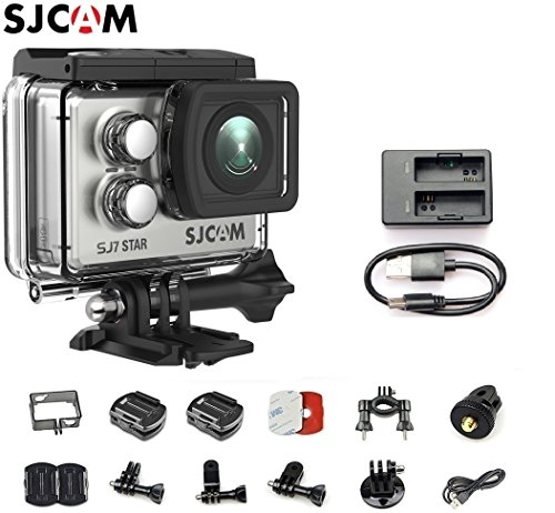 SJCAM SJ7 Star Kit {Including SJ7 Camera with Accessories & Dual Slot Battery Charger} 4K@30FPS Ambarella A12 Chipset/2