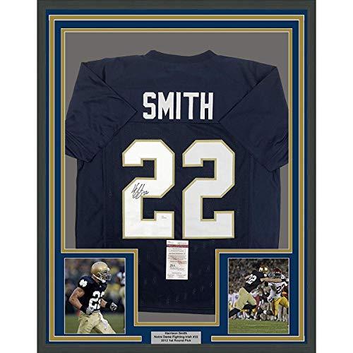 Framed Autographed/Signed Harrison Smith 33x42 Notre Dame Blue College Football Jersey JSA COA ()