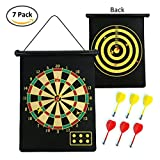 "17"" Magnetic Dart Board , Formemory Double-side Dartboard Bullseye Hanging Wall with 6 safety Magnetic Darts for Kids Leisure Game"