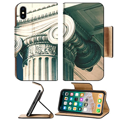 MSD Premium Apple iPhone X Flip Pu Leather Wallet Case IMAGE ID: 34938307 Vintage Old Courthouse Column (Column Fresh Food)