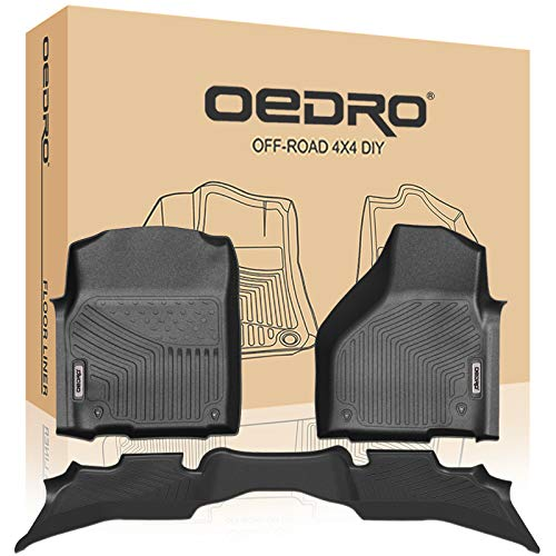 oEdRo Floor Mats Compatible for 2012-2018 Dodge Ram 1500 Quad Cab, All Weather Guard, 2 Row Liners Set