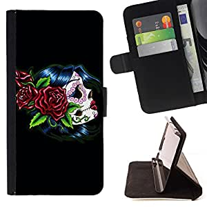 For HTC One M7 Punk Smoker Retro Beautiful Print Wallet Leather Case Cover With Credit Card Slots And Stand Function