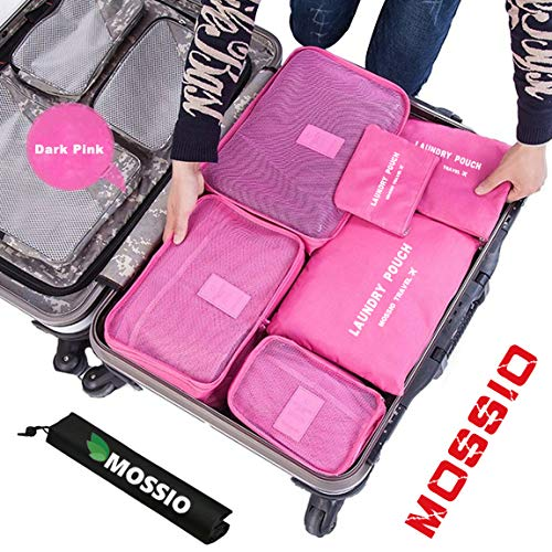 Travel Bag,Mossio 7pcs Luggage Pouch Durable Compact Trip Gears Dark Pink (Compact 100 Usb)