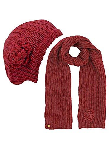 Burgundy Feminine Rosette Knit Beret Hat & Scarf Set (Scarf Beret Set)