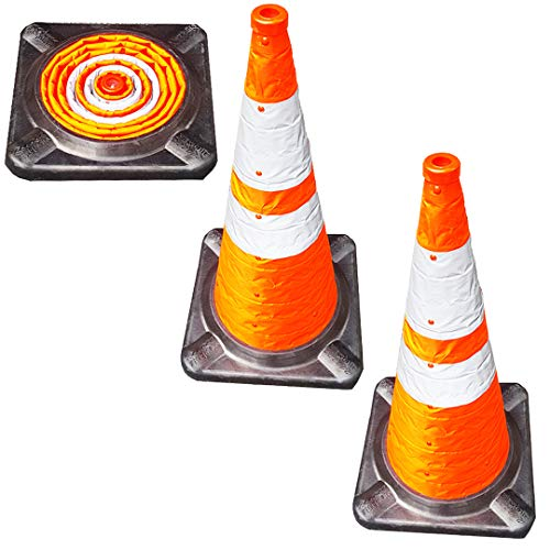 VIEWBRITE Collapsible Traffic Cones with LED Lighting - Safety Cones Emergency Road Cones Parking Cones Orange Collapsable Cones with Heavy-Duty Rubber Base - 28 Inches Tall - 2 Pack