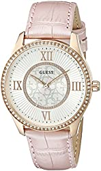 GUESS Women's U0768L3 Dressy Watch with Light Pink Genuine Leather Strap